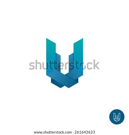 Letter U construction logo template. Color corner ribbons style. Real estate or house building symbol. - stock vector