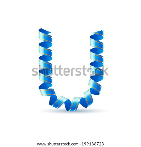 Letter U made of blue curled shiny ribbon - stock vector