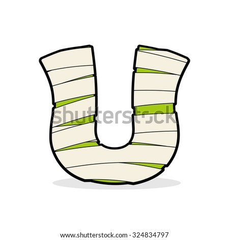 Letter U Monster zombie. Alphabetical icon medical bandages. Egyptian concept of template elements ABC. Mummy ABC icon - stock vector