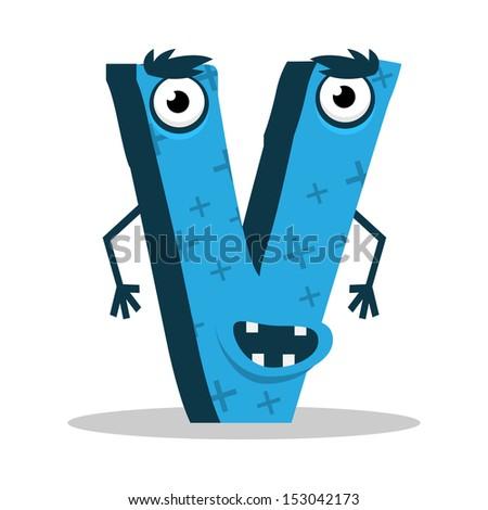 Letter V Monster, vector illustration - stock vector