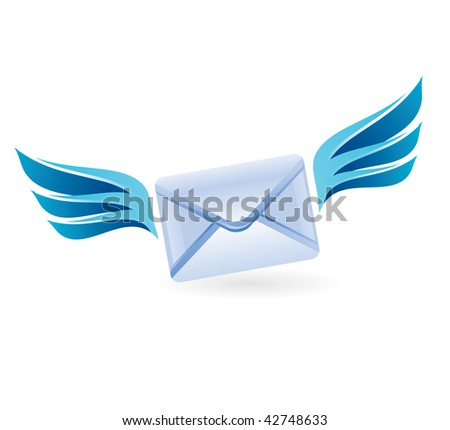 letter with wings - vector concept - stock vector