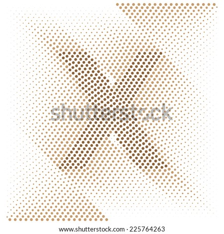 Letter X - Abstract dotted optical illusion alphabet  - stock vector