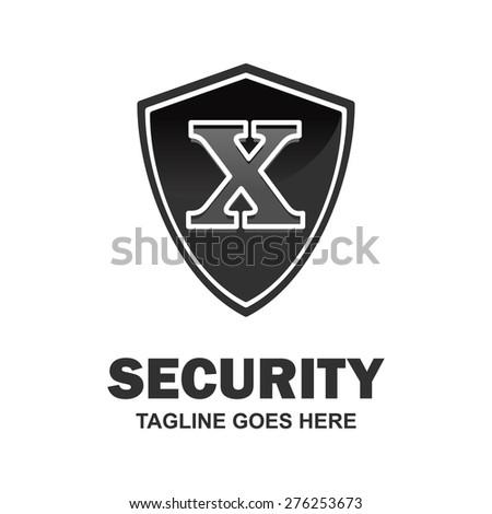 Letter x crest logo. Alphabet logotype vector design . heraldic shape shield . abstract symbol of security . black Security Shield . vector illustration - stock vector