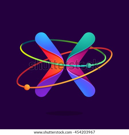 Letter X logo with atoms orbits lines. Bright vector design for science, biology, physics, chemistry company. - stock vector