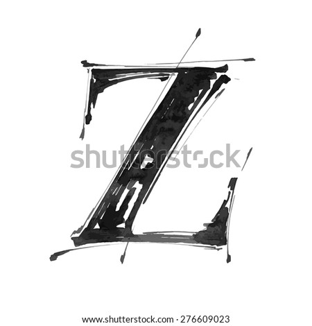 letter Z. Alphabet symbol - grunge hand draw paint / vector illustration - stock vector