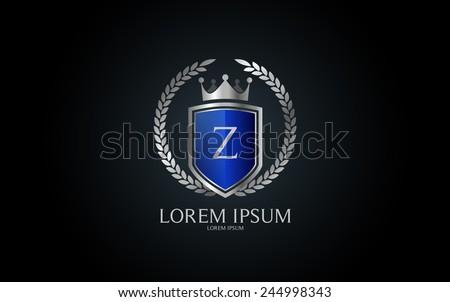 Letter Z crest logo. Alphabet logotype vector design. - stock vector