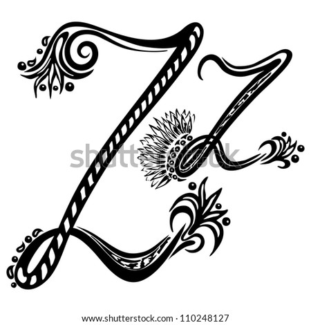 Letter Z z  in the style of abstract floral pattern on a white background - stock vector