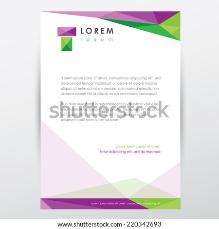 letterhead graphic design document template for business visual identity- modern low poly style - stock vector
