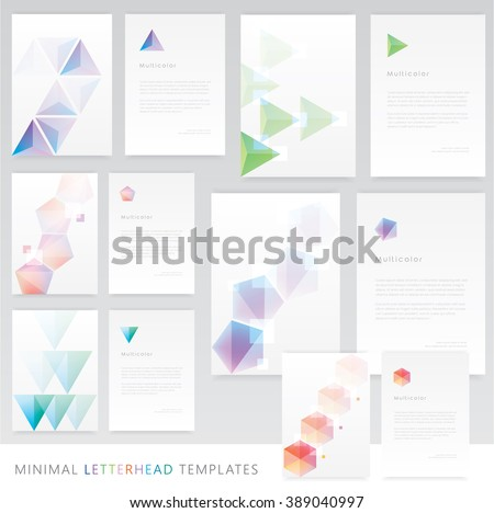 Letterhead templates and brochure cover mockup collection in clean minimal colorful geometric design. Triangle and polygon shapes and logos. Futuristic theme concept  - stock vector