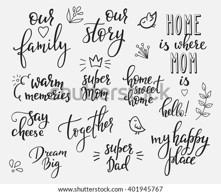 Lettering photography overlay set. Motivational quote. Sweet cute inspiration typography. Calligraphy photo graphic design element. Hand written sign. Love story wedding family album decoration. - stock vector