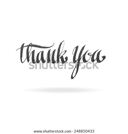 lettering thank you. calligraphy art - stock vector