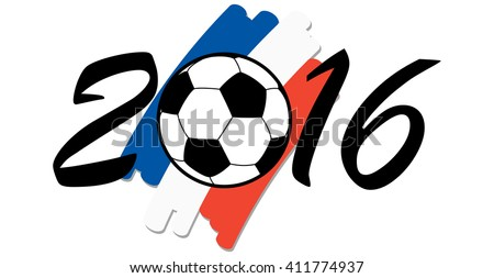 lettering 2016 with soccer ball and france national colors - stock vector
