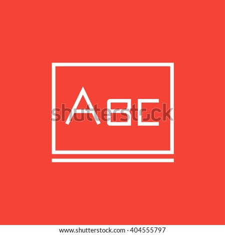 Letters abc on blackboard line icon. - stock vector