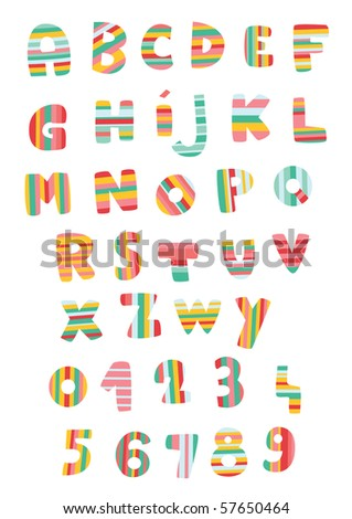 Letters and numbers in colorful stripes. - stock vector