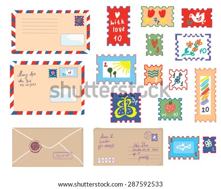 Letters and post stamps funny set - retro illustration - stock vector