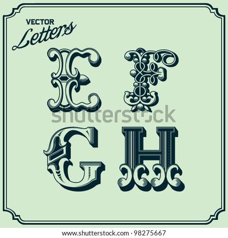 Letters E F G H - stock vector