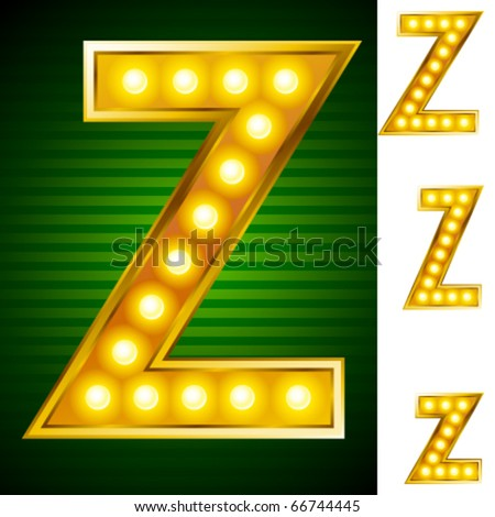 Letters for signs with lamps. Letter z - stock vector