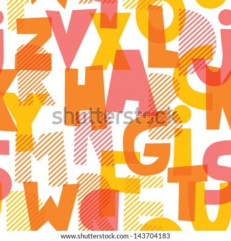 Letters illustration seamless vector pattern - stock vector