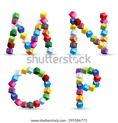 Letters M, N, O and P made of colored blocks. - stock vector