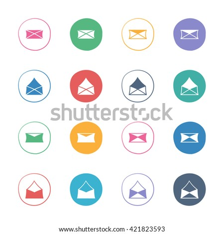 Letters, messages, envelopes icons. Web colorful flat elements set. Hand-drawn round buttons. Isolated. Vector illustration. For e-mail. - stock vector