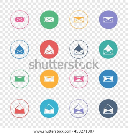 Letters, messages, envelopes icons. Web colorful flat elements set. Hand-drawn round buttons. Isolated on transparent background. Vector illustration. For e-mail. - stock vector