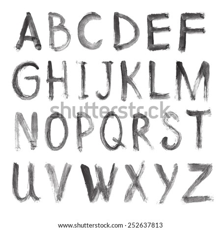Letters of the alphabet written with a brush. vector hand drawn alphabet - stock vector
