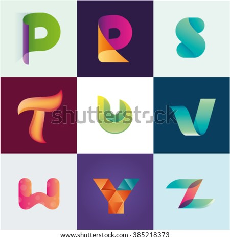 Letters P R S T U V W Y Z set of logo idea realistic - stock vector
