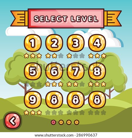 Level selection screen. Sunny hills concept. Creative ui templates set for web, mobile and computer video games. Vector illustration - stock vector