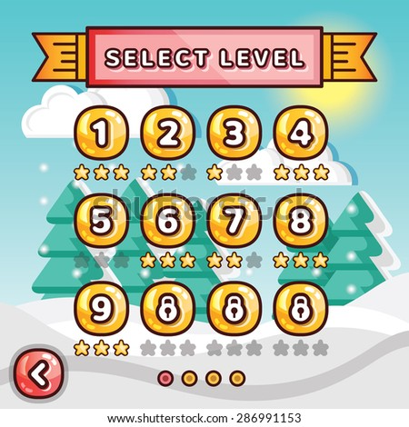 Level selection screen. Winter forest concept. Creative ui templates set for web, mobile and computer video games. Vector illustration - stock vector