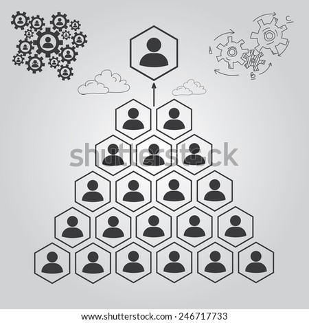 Levels of management. Increase - stock vector