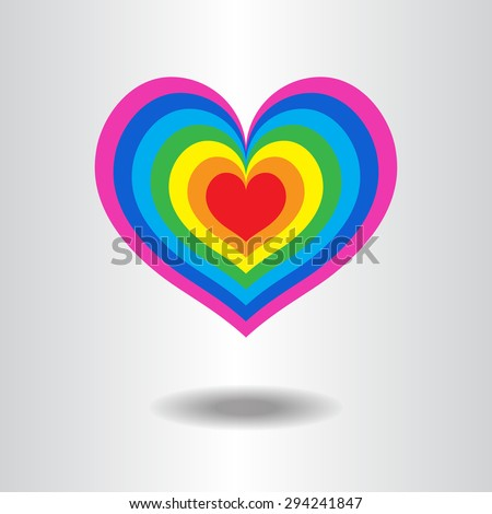 lgbt heart shape love background icon vector / love lgbt heart shape,  freedom flag, pride flag - stock vector