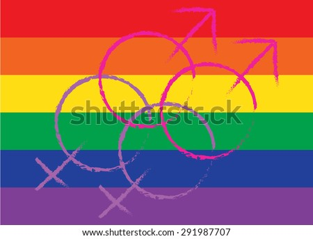 LGBT or GLBT lesbian, gay, bisexual, and transgender flag background  with homosexuality symbol. - stock vector