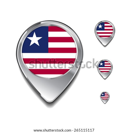 Liberia flag map pointer. 3d Map Pointer with flag glossy button style on gray background - stock vector
