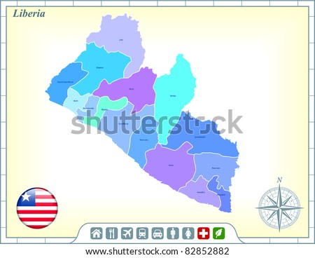 Liberia Map with Flag Buttons and Assistance & Activates Icons Original Illustration - stock vector
