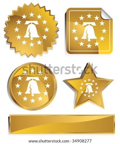 liberty bell icon gold - stock vector