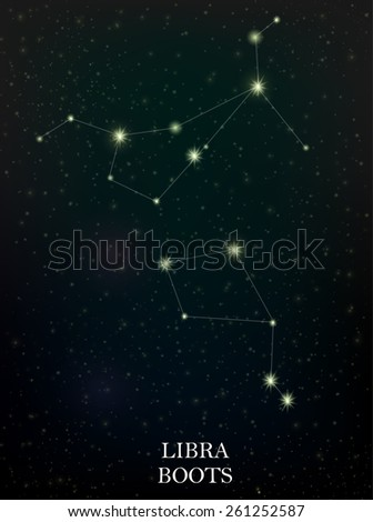 Libra and Boots constellation - stock vector