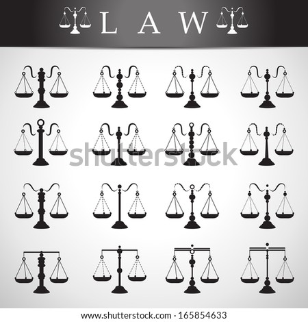 Libra Icons Set - Isolated On Gray Background - Vector Illustration, Graphic Design Editable For Your Design. - stock vector