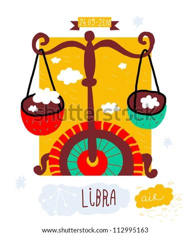 Libra. zodiac vector drawing - stock vector