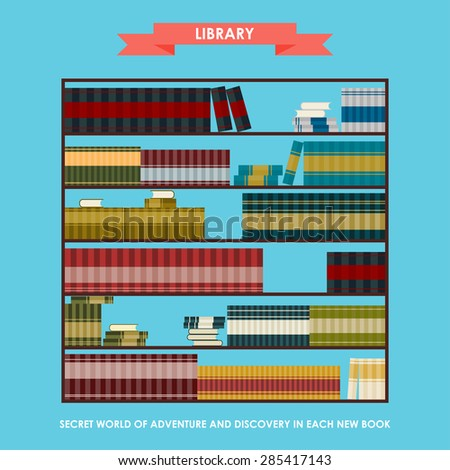 Library bookcase isolated on stylish bright blue cover. Simple graphic cartoon illustration in trendy flat style with slogan about reading as opening secret world of adventure and discovery - stock vector