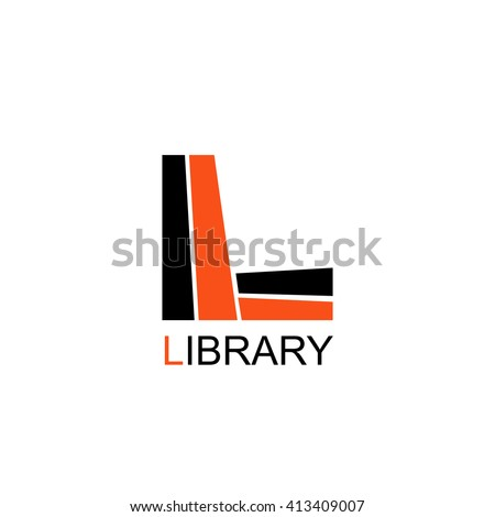 Library Education Logo. Letter L consists of books - stock vector
