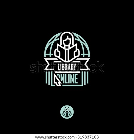 library icon, book, reading book - stock vector