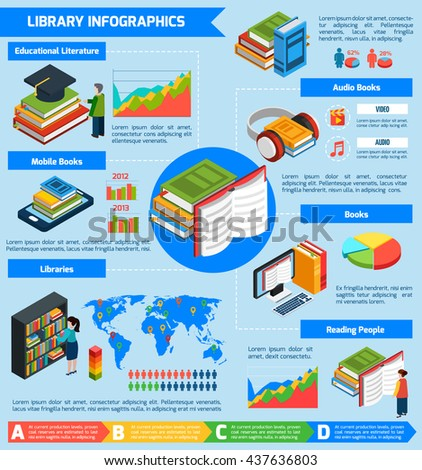 Library isometric infographics presenting statistical information about libraries different kinds of books reading people and educational literature vector illustration - stock vector
