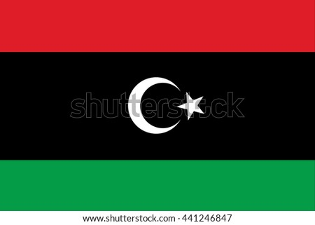 Libya flag official of the right proportions, crescent star, stylish vector illustration EPS10 - stock vector
