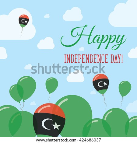 Libya Independence Day Flat Patriotic Design. Libyan Flag Balloons. Happy National Day Vector Card. - stock vector