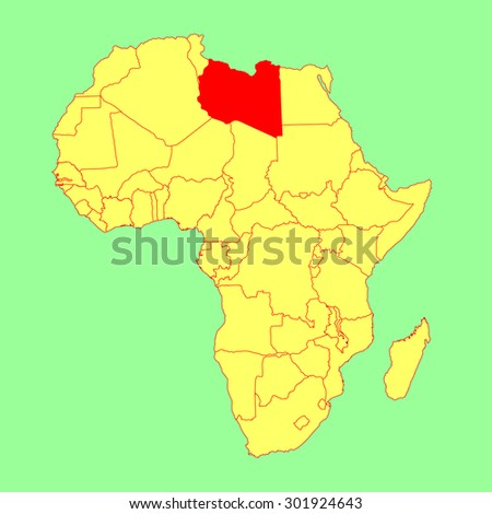 Libya vector map isolated on Africa map. Editable vector map of Africa. - stock vector