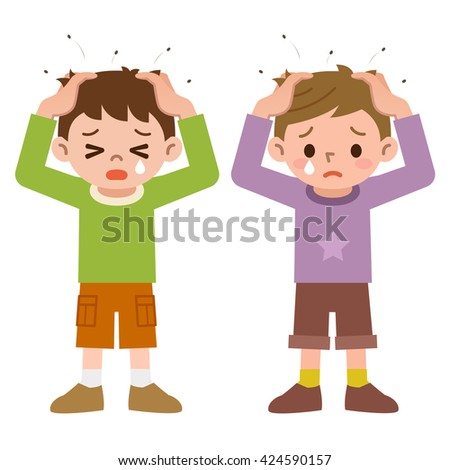 Lice and boys - stock vector