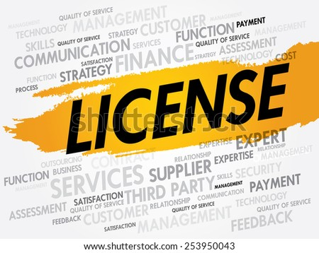 LICENSE word cloud, business concept - stock vector