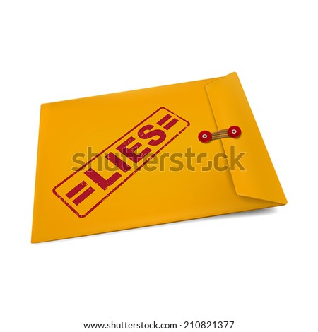 lies stamp on manila envelope isolated on white - stock vector