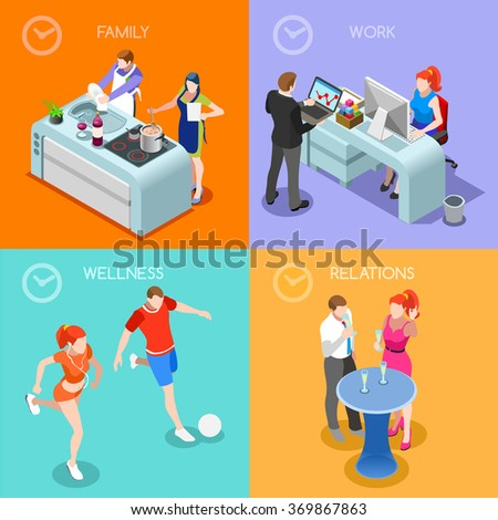 Life Balance Flat 3d Isometric Isometry Concept. Day Time Management Planning Scheduling Work Family Relations and Sport Wellness Interior Scene. Creative People Collection Vector Illustration. - stock vector