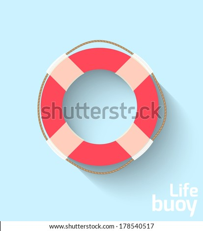 Life buoy in flat style - stock vector